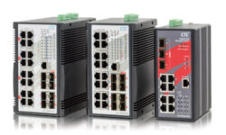 Switches that provide 4/8/16x 10/100/1000Base-T ports plus 8/3 100/1000Base-X SFP ports with 16/8x PoE Ports. The PoE features enable power and data to be transferred via a single cable.